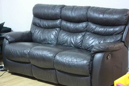 3 Seater Manual Leather Sofa with 2 Reclining Seats