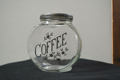 """Antique Glass Coffee Jar with Lid Hand Painted """"Coffee"""" & Floral Decoration 1900"""