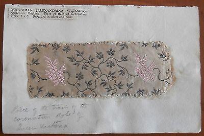 Queen Victoria swatch of coronation robe LOA