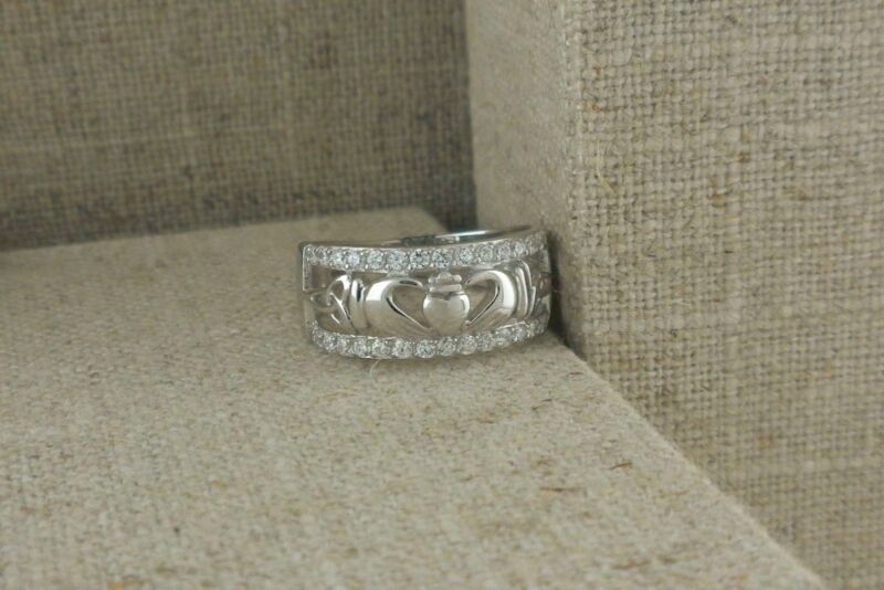 Sterling Silver Claddagh & Trinity Knot Ring with CZs Irish FADO Size 6.5 or 7.5