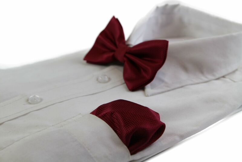 Mens Maroon Plain Coloured Checkered Bow Tie & Matching Pocket Square Set