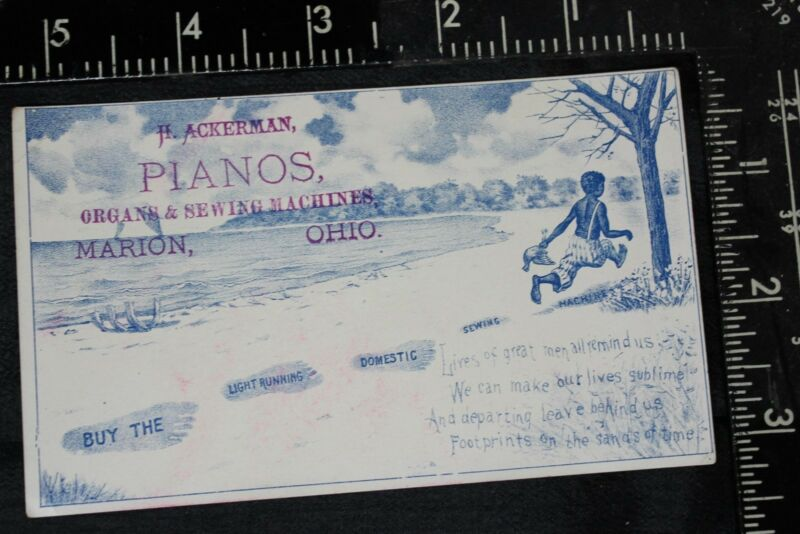 Black Americana Trade Card Ad for H Ackerman Organs Sewing Machine Marion Ohio