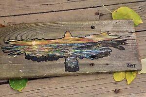 Toile Aigle peint sur Bois de Grange