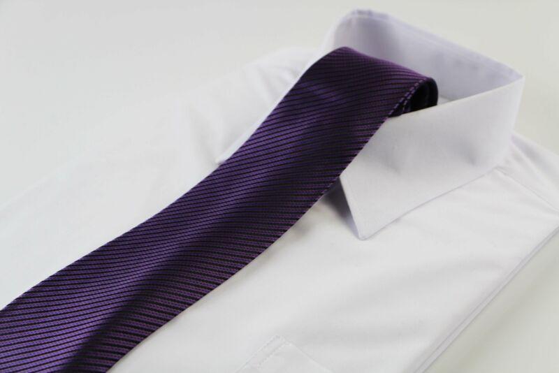 Mens Dark Purple & Black Striped Patterned 8cm Neck Tie