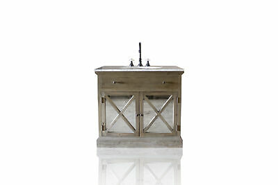 """Small 36"""" Reclaimed Wood & Carrera Marble Bath Vanity Mirrored Cabinet Doors for sale  Shipping to Canada"""