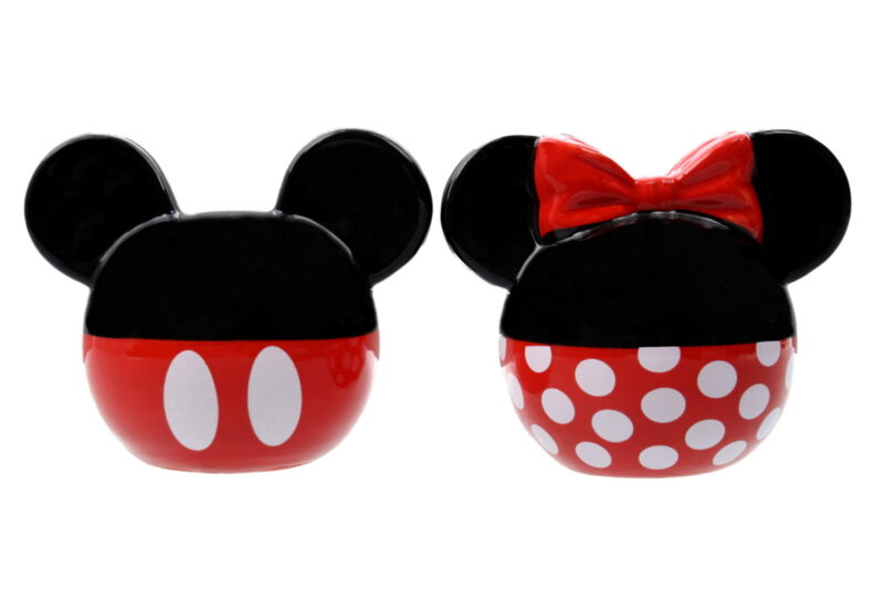 Disney Salt and Pepper Shakers Set Ceramic Minnie and Mickey Mouse