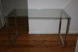 CHROME AND GLASS TOP MODERN DESK IN EXCELLENT CONDITION North Ryde Ryde Area Preview