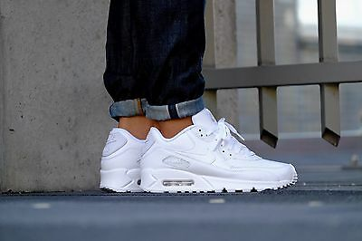 220afd51 Nike Air Max 90 LEATHER Mens Shoes TRIPLE WHITE 302519-113 NIB $120 Sneakers  фото