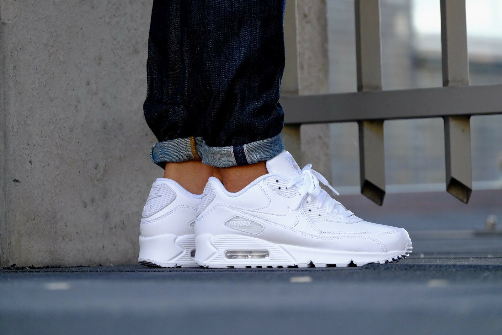 Nike Air Max 90 LEATHER Mens Shoes TRIPLE WHITE ...