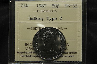 1982 CANADA 50 CENTS ICCS MS 65 SMALL BEADS; TYPE 2. R VARIETY. BV $300