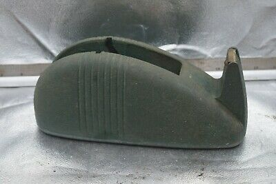Vintage Industrial Tape Dispenser Heavy Duty Green Desk Top Cast Iron Deco