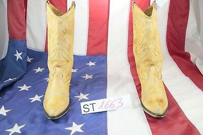 Boots ( Cod. St1663) Used N Beige Leather Ladies Cowboy Vintage Original Tattoo