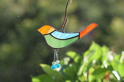 Tiffany Fensterbild bunter Vogel mit Baumelbeinchen Sonnenfänger Mitbringsel 4