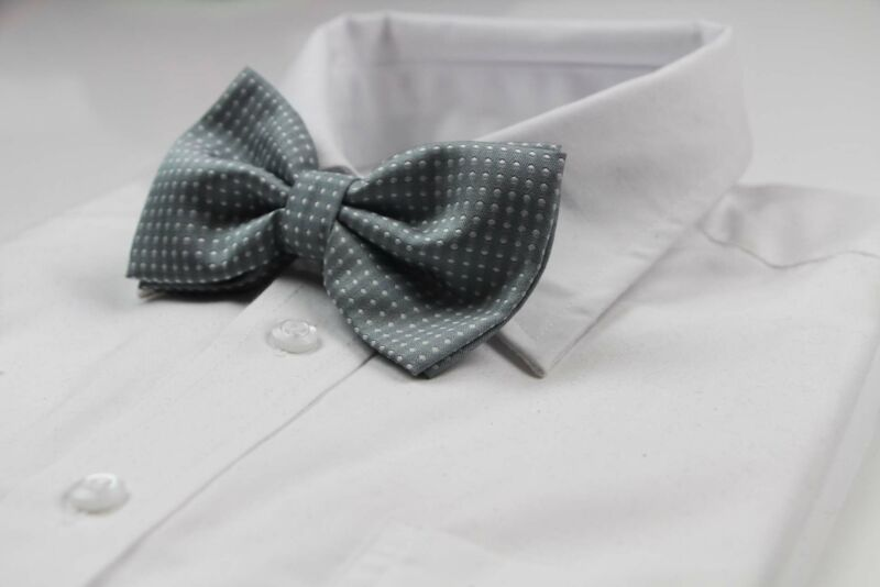 Mens Grey Plain Coloured Bow Tie With White Polka Dots