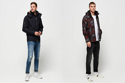 Superdry Mens Tech Hooded Print Pop Zip Sd-Windcheater Jacket