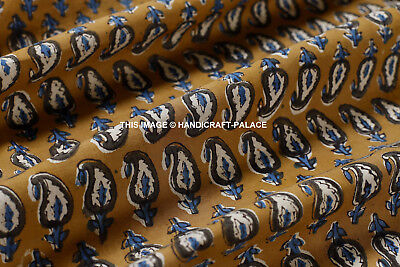 Indian By Yard Hand Block Print Fabric Cotton Sanganeri Paisley Dabu Fabric