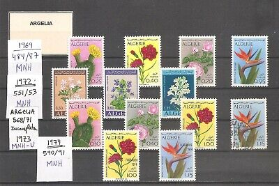 FLORES / FLOWERS - ALGERIA - LOT 1969 to 1995, MNH  (1 used)