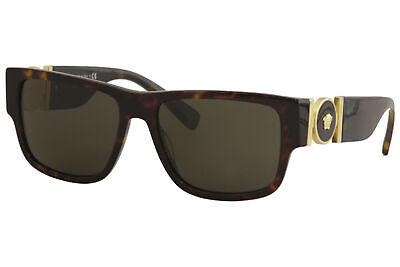 Versace Men's VE4369A 108/82 Havana-Gold/Green Lens Rectangular Sunglasses 58mm