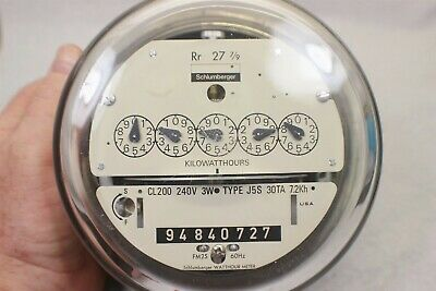 Schlumburger Electric Watthour Meter Kwh Type J5s 240v 200 Amps 3w Cl200