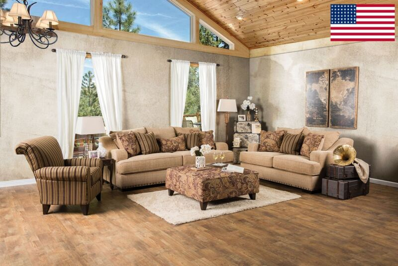 Chic Contemporary Living Room 3pc Sofa Set Sofa Loveseat Chair in Tan Color USA