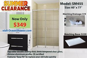 Replace your old bathtub clear tempered glass shower door