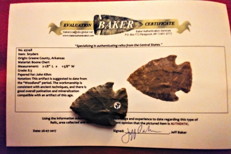 Authentic Native American artifact arrowhead Arkansas Snyders point.