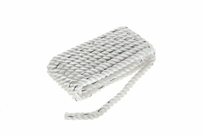 Seachoice 47601 Premium 3-Strand Twisted Nylon Dock Line with Tracer, White w...