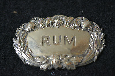 Antique Victorian Silver Plate Rum Bottle Label Leaf Fruit