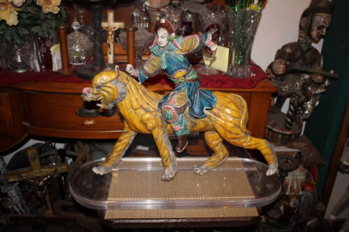 LARGE Antique Chinese Japanese Pottery Sculpture-Warrior Man Riding Tiger-#1