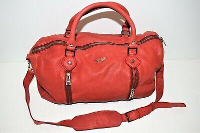 Zadig et voltaire, sac porté main en cuir rouge, ligne