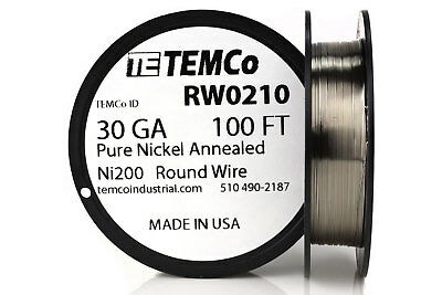 Temco Pure Nickel Wire 30 Gauge 100 Ft Non Resistance Awg Ni200 Nickel 200ga