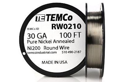 Temco Pure Nickel Wire 30 Gauge 100 Ft Non Resistance Awg Ni200 Nickel 200ga