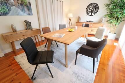 Stunning American Oak Dining Table (1.8m/2.1m) - Brand New
