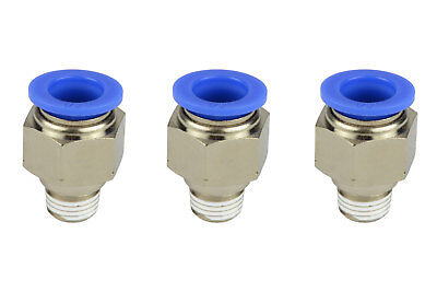 3x Temco Pneumatic Air Quick Push To Connect Fitting 14 Npt To 12 Hose Od