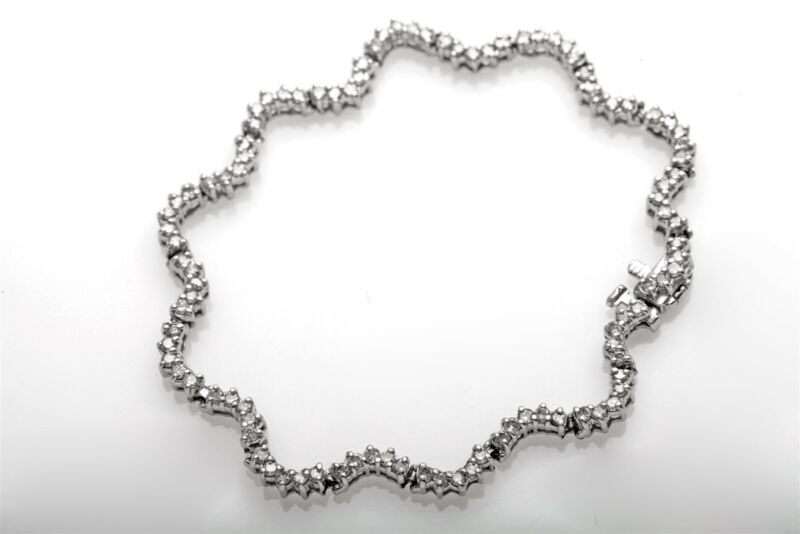 Designer $10,000 4ct Diamond Platinum Wave Tennis Bracelet Heavy 19g 7.5""