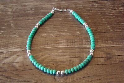 Navajo Indian Hand Strung Turquoise Bracelet by D. Jake