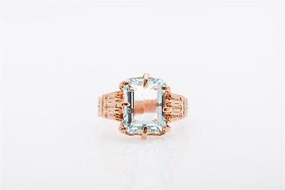 Aquamarine Ring Band (Antique RETRO 1940s $3400 6ct Natural Aquamarine 14k Rose Gold Band Ring )