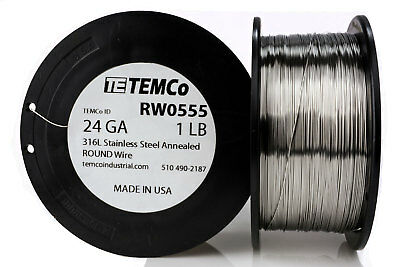 Temco Stainless Steel Wire Ss 316l - 24 Gauge 1 Lb Non-resistance Awg Ga