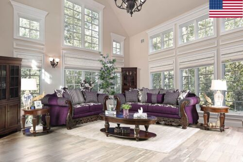 Classic Traditional Look Purple Sofa Loveseat W Pillows 2pc Set Living Room Home