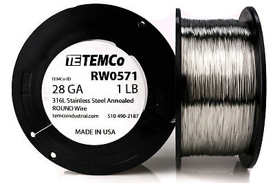 Temco Stainless Steel Wire Ss 316l - 28 Gauge 1 Lb Non-resistance Awg Ga