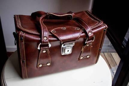 vintage, retro brown leather bag