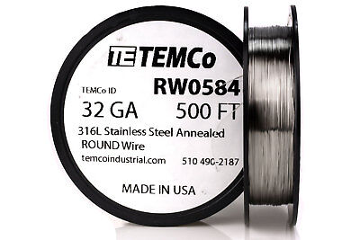 Temco Stainless Steel Wire Ss 316l - 32 Gauge 500 Ft Non-resistance Awg Ga