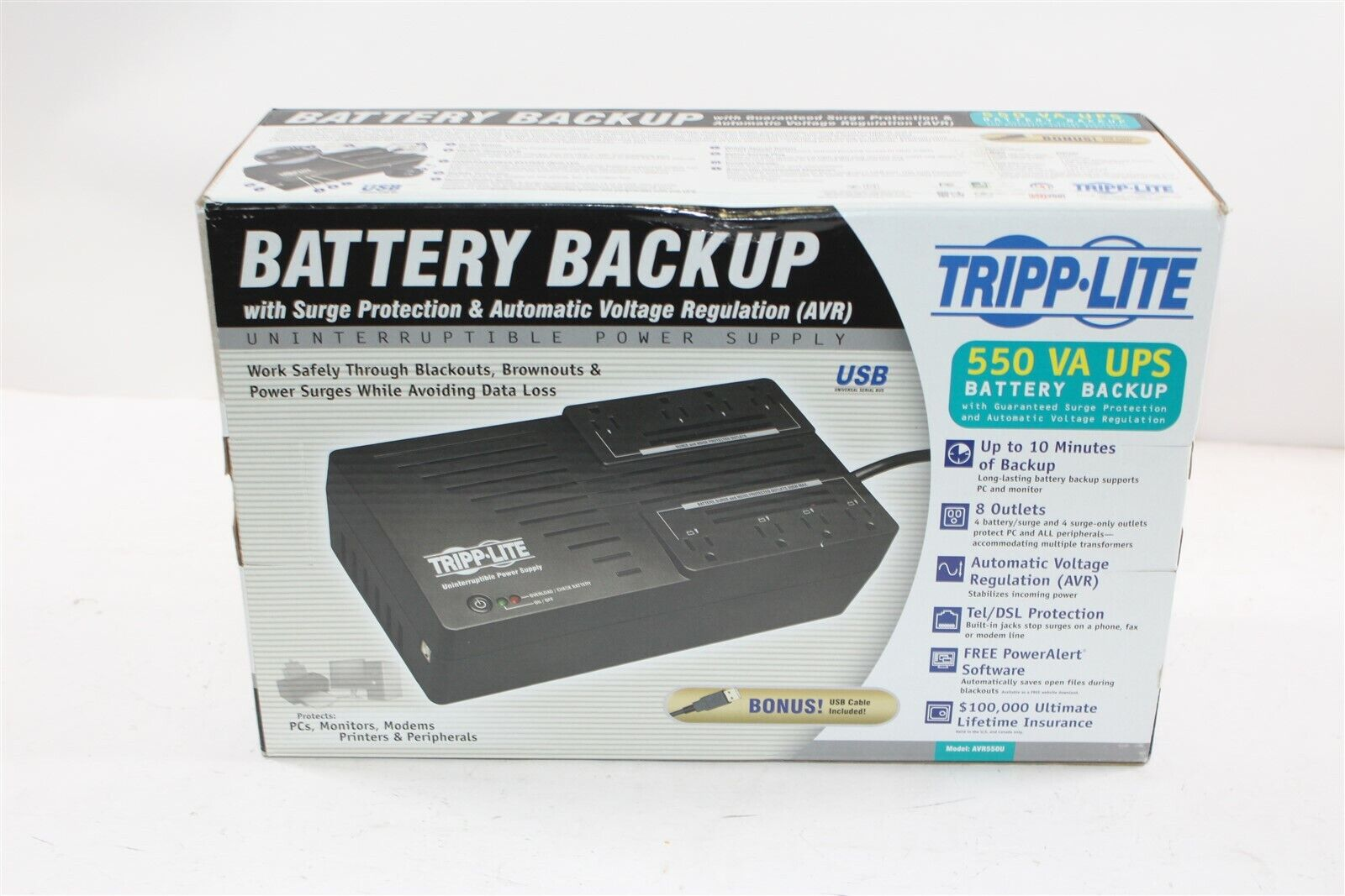 Tripp Lite AVR550U 550VA 8 Outlet UPS Battery Backup w/ Surg