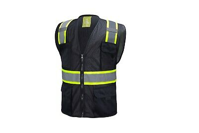 Black Two Tones Safety Vest With Multi-pocket Tool