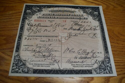 Antique US Treasury Dept Prohibition Prescription Whisky May 1928 Tremont PA EX