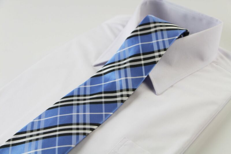 Mens Light Blue, Black & White Striped Plaid Patterned 8cm Neck Tie