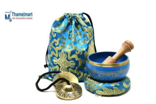 4 Inch Tibetan Meditation Yoga Singing Bowl Set with MalletCushion and carry bag