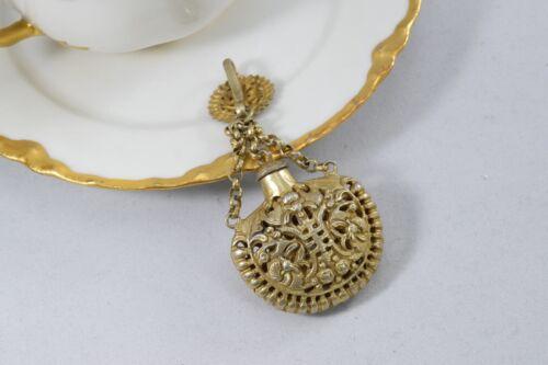 Vintage Perfume Sachet Gold Tone Metal Filigree Click On Bottle