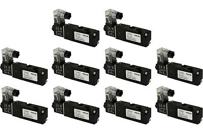 10x 12v Dc Solenoid Air Pneumatic Control Valve 5 Port 4 Way 2 Position 18 Npt