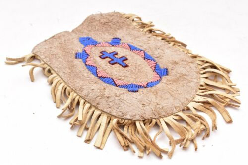 NATIVE AMERICAN CHEYENNE INDIAN BEADED LEATHER HIDE POUCH MEDICINE BAG PICTORIAL